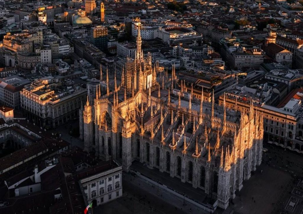 Aerial view of Milan Cathedral