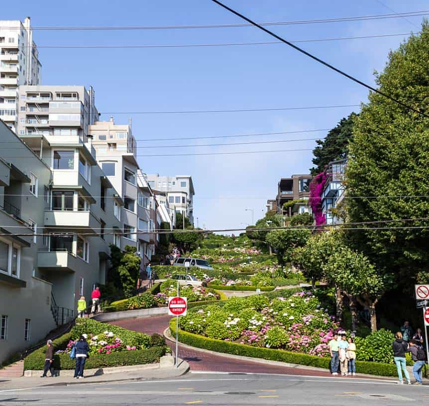 View up Lombard Street