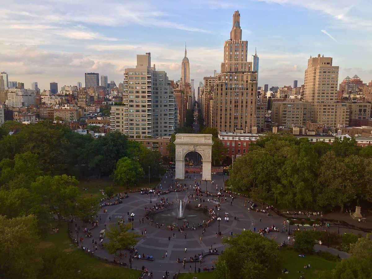 Washington Square arch aerial view